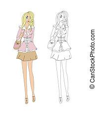 Fashion girl, vector sketch