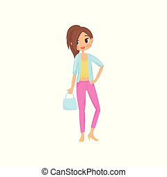 Fashion girl with big shiny eyes. Young woman in stylish pink pants, yellow blouse and blue jacket, high heels shoes and handbag. Flat vector design