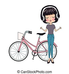 Fashion girl with bike