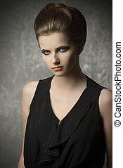 Fashion girl with black dress