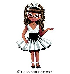 Fashion girl with glasses and a bow