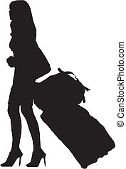girl with luggage - fashion girl with luggage - isolated...