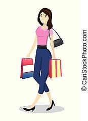 Fashion girl with shopping bags walking
