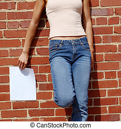 Fashion Girl With Sign