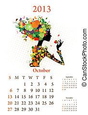 Fashion girls 2013 calendar year, october