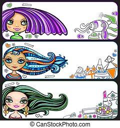 Fashion girls banner set