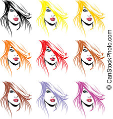 fashion girls face and hair in different colors