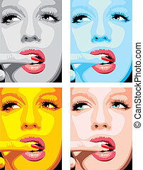 fashion girls face in different colors as nice woman...