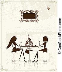 Fashion girls in cafe, illustration for your design