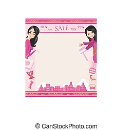 Fashion girls Shopping card