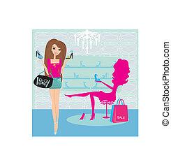 Fashion girls shopping in shoe shop