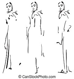 Fashion girls sketch.