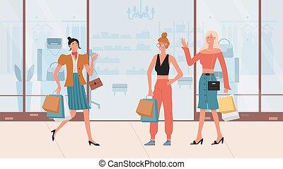 Fashion girls walking after shopping, holding handbag