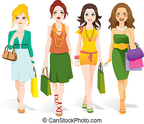 Fashion Girls Walking - Four beautiful fashion girls walking...
