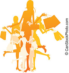 fashion girls with shopping bags in silhouette