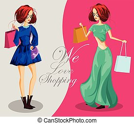 Fashion girls with shopping bags. We love shopping banner