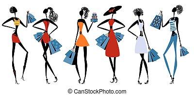 Fashion girls with shopping