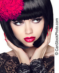 Fashion Glamour Beauty Model Girl with Makeup and bob short Hair
