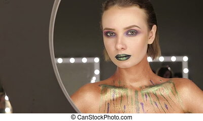 Fashion Green Sexy Lips and Closeup. Open Mouth. Make up...