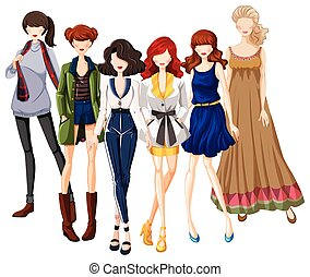 Group of models wearing fashionable clothes