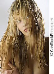 fashion hair style - attractive and beautiful blond girl...