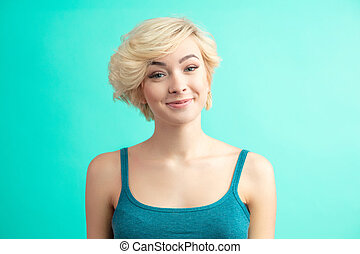 Fashion Haircut. Hairstyle. Woman with Short Blonde Hair Style.