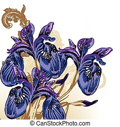 Fashion hand drawn flowers in purpl