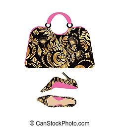 Fashion handbag with high heel shoes