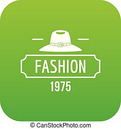 Fashion hat icon green vector isolated on white background