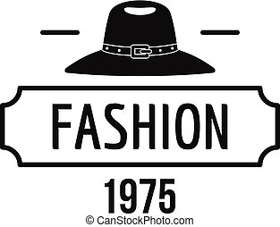 Fashion hat logo, simple black style - Fashion hat logo....
