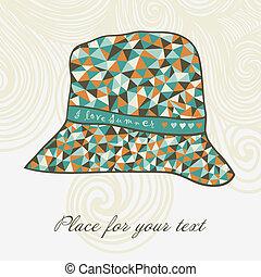 fashion hat made of triangles fabri