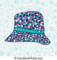 fashion hat made of triangles fabri