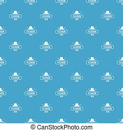 Fashion hat pattern vector seamless blue repeat for any use