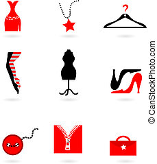 Collection of fashion icons and logos