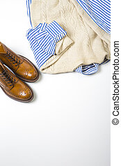 Fashion Ideas and Concepts. Man's Tan Brogue Boots, and...
