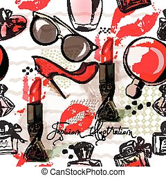 Fashion  illustration or pattern with red lipstick, shoes, glasses and perfume. Watercolor style.eps