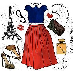 Fashion illustration. Paris style outfit.