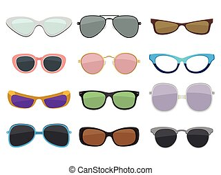 Fashion illustration set. Different sizes and types of sunglasses. Vector colored pictures in cartoon style