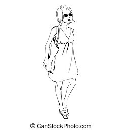 Fashion illustration sketch, scribble freehand woman