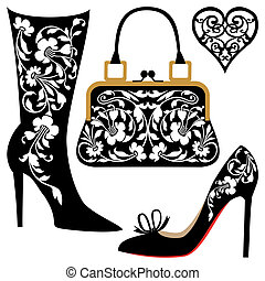 Fashion illustration - Silhouettes of women shoes and bag...