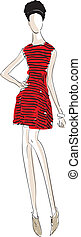 Vector fashion llustration of a girl with a red striped dress