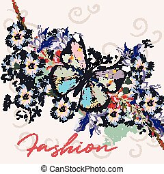 Fashion illustration  with blue flowers, butterfly and plants.eps