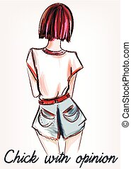 Fashion illustration with girl short hair standing back....