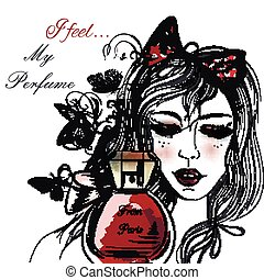 Fashion illustration with hand drawn pretty girl clothering her eyes and bottle of perfume