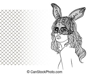 Portrait of a girl with a mask bunny. Art for print, posters, t-shirts and textiles. Vector.