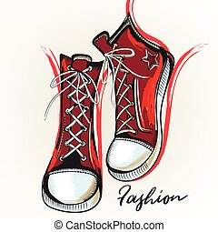 Fashion illustration with red sneakers and ink spots. Outfit.eps