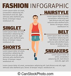 Fashion infographic with sport style man