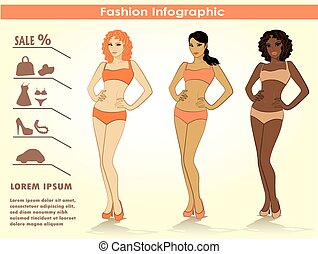Fashion infographics, two girls, vector.