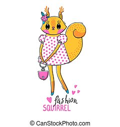 Fashion kawaii animal. Vector illustration of a squirrel in fashionable clothes. Can be used for t-shirt print, kids wear design, baby shower card