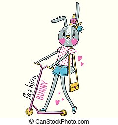 Fashion kawaii bunny. Vector illustration of a rabbit in fashionable clothes riding a scooter. Can be used for t-shirt print, kids wear design, baby shower card